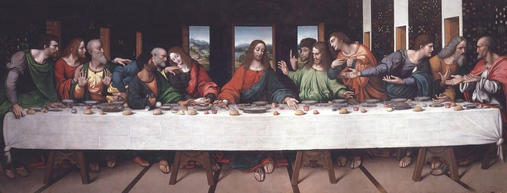 The Last Supper, ca. 1520, by Giovanni Pietro Rizzoli following Leonardo da Vinci's famous depiction.